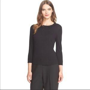 Kate Spade Black 3/4 Sleeve Cashmere Crew Sweater